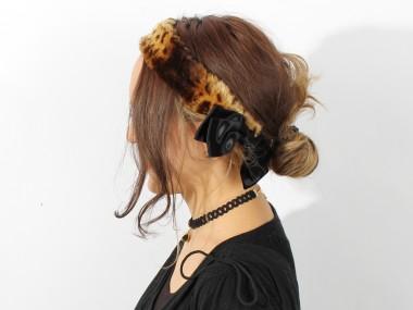 帽子通販専門店shappo online バラ色の帽子(baraironoboushi)ファーヘアバンド ヘアバンド 着用