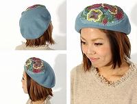 帽子通販専門店shappo online  CA4LA(カシラ)平面の花の変化 ベレー サムネイル