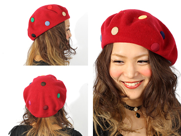 帽子通販専門店shappo online  バラ色の帽子 マーブルベレー ベレー トップ画