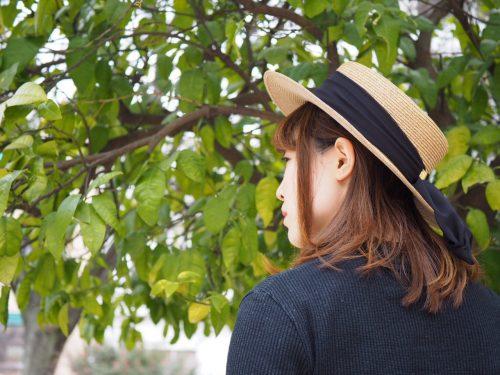 バラ色カンカン帽 着用